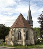 French Village Church. Church in the village of Le Bec-Hellouin, Normandy, France Stock Photos