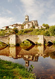 French Village with Church on a Hill Royalty Free Stock Image