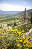 French village/church view with flowers, provence, Royalty Free Stock Photos
