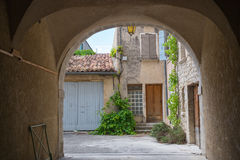French village with gate Stock Photo