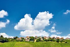 French village on a hill. A young green vineyard in the background of houses and a blue sky with clouds royalty free stock images
