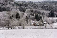 French Village landscape under the snow Royalty Free Stock Photography