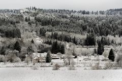 French Village landscape under the snow Royalty Free Stock Image