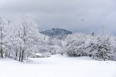 Free French Village Landscape Under The Snow Royalty Free Stock Image - 140098646