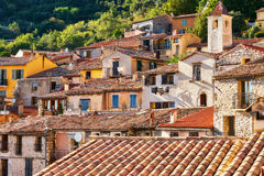 French village in the mountains. This lovely village located in southern France is named Peille Stock Images