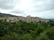 French Village. Photo from the mountains of southern France looking over an old medieval village Stock Photos