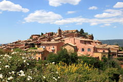 French village of Roussillon upon the hilltop Stock Images