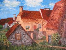French village with rustic houses. OIl painting. Royalty Free Stock Photo