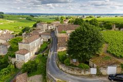 French village and vineyard Stock Photos