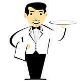 French Waiter With Tray. Waiter with mustache holding tray and dishcloth Stock Illustration