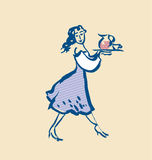 French waitress sketch vector illustration Stock Photos