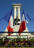 French war memorial. A French war meorial, decorated with flags, in the town of Divonne Stock Image