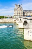 French water policemen in a speed boat on the river Seine Stock Images