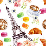 French watercolor seamless pattern Royalty Free Stock Photography