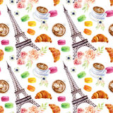 French watercolor seamless pattern Stock Photography