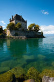French Waterfront Castle Lake Geneva Stock Image