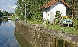 French waterway, canal lock. France. Stock Photography