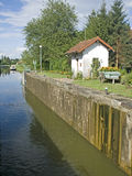 French waterway, canal lock. France. Stock Photo
