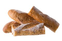 French white long baguette bread isolated on white background Stock Photos