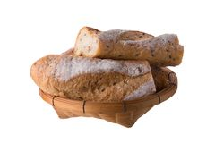 French white long baguette bread isolated on white background Royalty Free Stock Photos