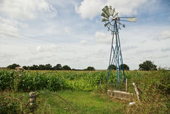 French wind power. An agricultural windmill in a rural French field stock photo