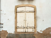 French window with closed old medieval wooden Royalty Free Stock Images