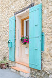 French window with typical shutters Royalty Free Stock Photo