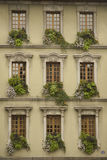 French Windows. Windows of a French Town House in Annecy, in neat formation, with beautiful flower boxes Stock Images