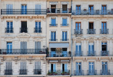 French windows. Typical traditional french windows and balconies Stock Photos