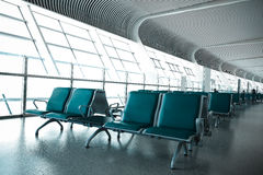French windows of the airport terminal chairs Stock Photos