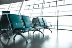 French windows of the airport terminal chairs Royalty Free Stock Image