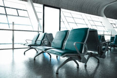 French windows of the airport terminal chairs Royalty Free Stock Photos