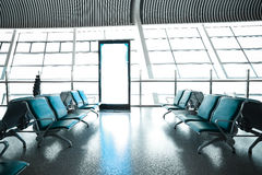 French windows of the airport terminal chairs Stock Photography