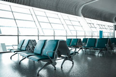 French windows of the airport terminal chairs Stock Images