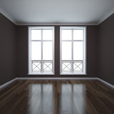 French windows. Minimalistic room with classic elements Stock Photography