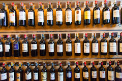 French Wine bottles. View of the best bottle of wine of the famous Saint-Emilion region in French close to Bordeaux stock photos
