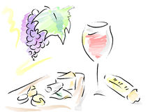 French wine, cheese plate and french bread. French wine, cheese plate and french loaf, with many different cheeses on plateau and a bunch of grape with a leave Stock Photography