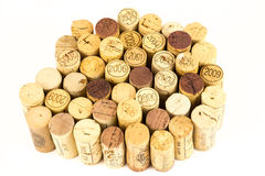 French wine corks. Background of assorted French wine corks close up Stock Photos