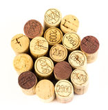 French wine corks. Background of assorted French wine corks close up Stock Image