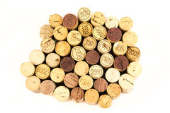 French wine corks. Background of assorted French wine corks close up Royalty Free Stock Photo
