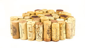 French wine corks. Background of assorted French wine corks close up Royalty Free Stock Photos