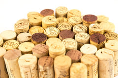 French wine corks. Background of assorted French wine corks close up Royalty Free Stock Images