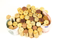 French wine corks. Background of assorted French wine corks close up with money Royalty Free Stock Photo