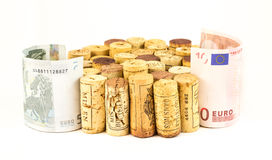 French wine corks. Background of assorted French wine corks close up with money Stock Images
