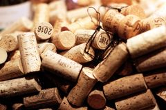 French Wine corks close up background into a wine merchant`s cellar. Wine corks close-ups background into a wine merchant`s cellar in Saint Germain des Prés stock photography