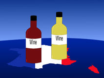 French wine with map Stock Image