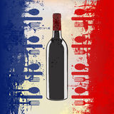French Wine Menu. A menu template with a wine bottle over a grunged french flag Stock Photo