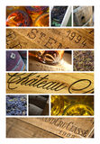 French wine and wineries. Collage of label, object and bottles of French wineries Royalty Free Stock Photography