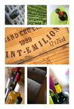 French wineries collage. Tasting and wineries on a wine collage Royalty Free Stock Images