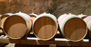 French winery with  wooden barrels Royalty Free Stock Photos